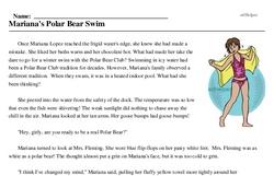 Print <i>Mariana's Polar Bear Swim</i> reading comprehension.