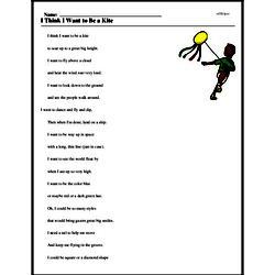 Print <i>I Think I Want to Be a Kite</i> reading comprehension.