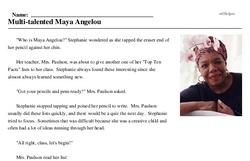 Print <i>Multi-talented Maya Angelou</i> reading comprehension.