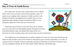 Print <i>Day of Trees in South Korea</i> reading comprehension.