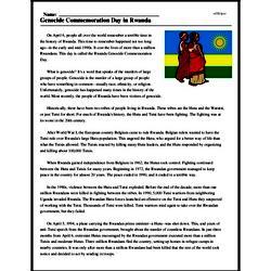 Print <i>Genocide Commemoration Day in Rwanda</i> reading comprehension.