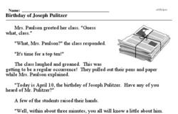 Print <i>Birthday of Joseph Pulitzer</i> reading comprehension.
