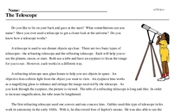 Print <i>The Telescope</i> reading comprehension.