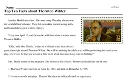 Print <i>Top Ten Facts about Thornton Wilder</i> reading comprehension.