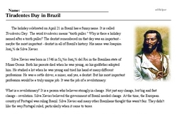 Print <i><i>Tiradentes</i> Day in Brazil</i> reading comprehension.