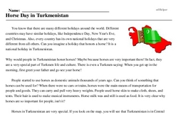 Print <i>Horse Day in Turkmenistan</i> reading comprehension.