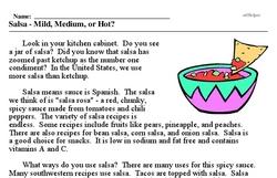 Print <i>Salsa - Mild, Medium, or Hot?</i> reading comprehension.