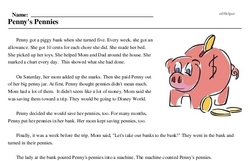 Print <i>Penny's Pennies</i> reading comprehension.