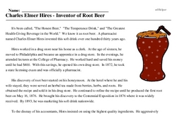 Print <i>Charles Elmer Hires - Inventor of Root Beer</i> reading comprehension.