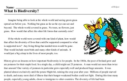 Print <i>What Is Biodiversity?</i> reading comprehension.