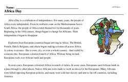 Print <i>Africa Day</i> reading comprehension.