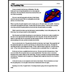 Print <i>My Kayaking Trip</i> reading comprehension.