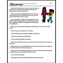 Print <i>A Surprise for Parents</i> reading comprehension.