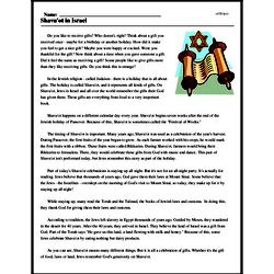 Print <i>Shavu'ot in Israel</i> reading comprehension.
