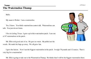 Print <i>The Watermelon Thump</i> reading comprehension.