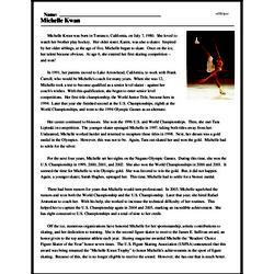 Print <i>Michelle Kwan</i> reading comprehension.