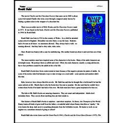 Print <i>Roald Dahl</i> reading comprehension.