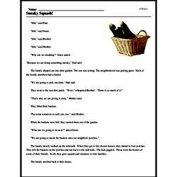 Print <i>Sneaky Squash!</i> reading comprehension.