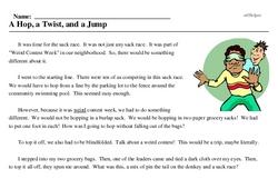 Weird Contest Week<BR>A Hop, a Twist, and a Jump
