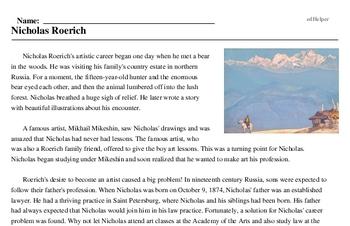 Print <i>Nicholas Roerich</i> reading comprehension.