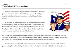 Veteran's Day<BR>The Origin of Veterans Day