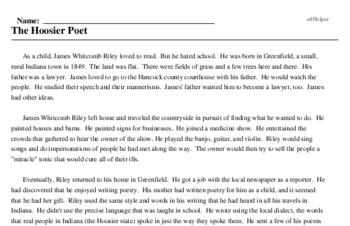 Print <i>The Hoosier Poet</i> reading comprehension.
