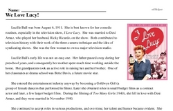 Print <i>We Love Lucy!</i> reading comprehension.