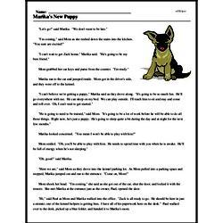 Print <i>Marika's New Puppy</i> reading comprehension.