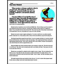 Print <i>Marvelous Mustard</i> reading comprehension.
