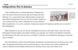 Print <i>Independence Day in Jamaica</i> reading comprehension.