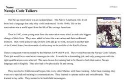Print <i>Navajo Code Talkers</i> reading comprehension.