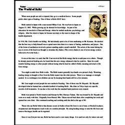 Print <i>The World of Reiki</i> reading comprehension.