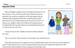 Print <i>Special Finds</i> reading comprehension.