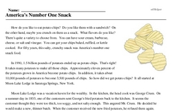 Potato Chips Invented<BR>America's Number One Snack