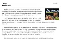 Print <i>Jim Henson</i> reading comprehension.