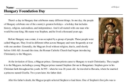 St. Stephen's Day in Hungary<BR>Hungary Foundation Day