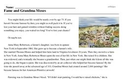 Print <i>Fame and Grandma Moses</i> reading comprehension.