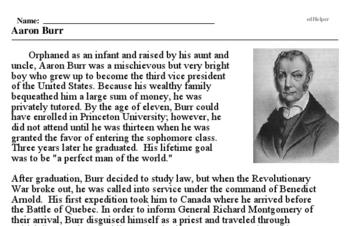 Print <i>Aaron Burr</i> reading comprehension.