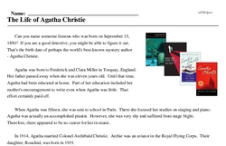 Print <i>The Life of Agatha Christie</i> reading comprehension.