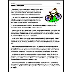 Print <i>Bicycle Celebration</i> reading comprehension.