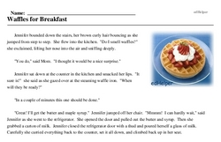 Print <i>Waffles for Breakfast</i> reading comprehension.