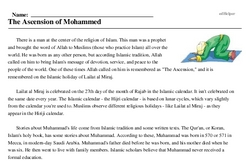 Print <i>The Ascension of Mohammed</i> reading comprehension.