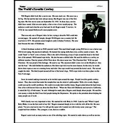 Print <i>The World's Favorite Cowboy</i> reading comprehension.