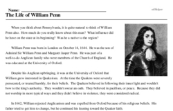 Print <i>The Life of William Penn</i> reading comprehension.