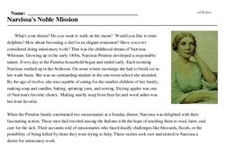 Print <i>Narcissa's Noble Mission</i> reading comprehension.