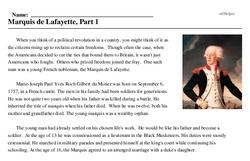 Print <i>Marquis de Lafayette, Part 1</i> reading comprehension.