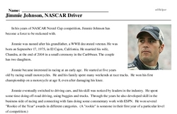 Print <i>Jimmie Johnson, NASCAR Driver</i> reading comprehension.