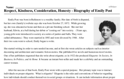 Print <i>Respect, Kindness, Consideration, Honesty - Biography of Emily Post</i> reading comprehension.