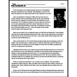 Print <i>Dale Earnhardt, Jr.</i> reading comprehension.