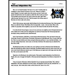 Print <i>Botswana Independence Day</i> reading comprehension.